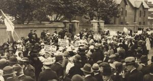 Cumann na mBan protest outside Mountjoy Prison during the Irish War of Independence. Photograph: WD Hogan /courtesy of the National Library of Ireland Cumann na mBan protest outside Mountjoy Prison during the Irish War of Independence. Photograph: WD Hogan /courtesy of the National Library of Ireland
