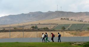 Residents at Mineo camp for asylum seekers in Sicily. Photograph: Frank Miller