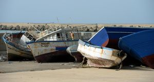 Empty vessels: Abandoned boats used by traffickers to send migrants  to Sicily.  Photograph: Frank Miller