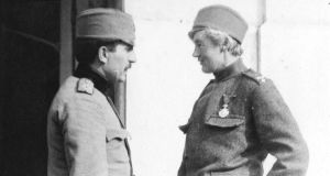 Flora Sandes (right) - probably the first woman ever honoured with a commission as a combatant officer in a European army.  Photograph: City of Vancouver Archives