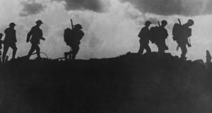 British soldiers silhouetted along a ridge during the first World War Battle of Mons in France in August, 1914. Photograph: Mansell/Getty Images