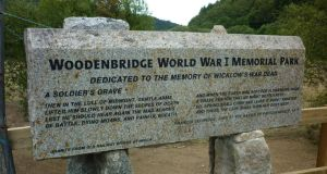 The Woodenbridge first World War Memorial Park in Co Wicklow, formally opened last month. The memorial, 15 stone pillars on which the names of the dead and their townlands are inscribed, commemorates the approximately 1,200 men from all parts of Co Wicklow who died in the first World War. It is inscribed with the lines of Francis Ledwidge's poem below. Photograph: Jack McManus