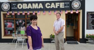 Annette and Paul Costello, at Obama Cafe, Main Street, Moneygall, Co Offaly. Photograph: Dara Mac Dónaill
