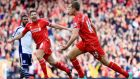 Liverpool's Jordan Henderson celebrates scoring the winner against West Brom at Anfield. Photograph: Peter Byrne/PA Wire