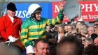 Jockey Barry Geraghty on Shutthefrontdoor, the winner of this year's Irish Grand National, which is sponsored by Boylesports. Photograph: Eric Luke/The Irish Times
