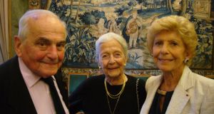Writer Michel Déon celebrates his 95th birthday at the Académie française with his wife Chantal and the perpetual secretary of the Académie, Hélène Carrére d'Encausse. Photograph: Lara Marlowe