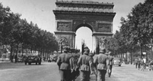 German troops marching in Paris after the Nazi occupation of France.