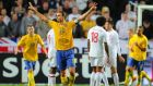 Zlatan Ibrahimovic celebrates scoring his third goal during the friendly between Sweden and England in November 2012. Photograph: Michael Regan/Getty Images