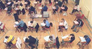 Leaving cert exam   at Marian College, Balsbridge, Dublin. Photograph: Peter Thursfield