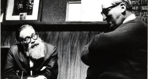 John Berryman with Jack Ryan, owner of the Beggars Bush public house, c.1966/1967