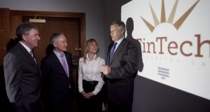 At the FinTech Innovation Lab Dublin launch were (from left) Enterprise Ireland's Kevin Sherry; Minister for Jobs Richard Bruton; Dublin's commissioner for start-ups Niamh Bushnell and Alastair Blair, Accenture Ireland