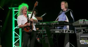 A 'cape-wearing Rick Wakeman and big-haired Brian May' performing at a concert during Starmus Festival