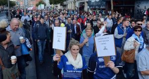 People taking part in the anti-water charges protest march in O'Connell Street, Dublin this afternoon. Photograph: Eric Luke/The Irish Times