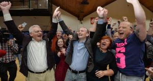Election winner Paul Murphy, now joining Joe Higgins and Ruth Coppinger on the bench behind Sinn Féin and Fianna Fáil.  Photograph: Alan Betson/The Irish Times