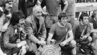 "Bill Shankly with Liverpool players after a Charity Shield victory. ""Shankly chose to believe football was about more than 'assets' and was able to convince a city he was right."" Photograph: Evening Standard/Getty Images."