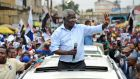 Afonso Dhlakama, leader of Renamo, the opposition political party, rallies support in Maputo, Mozambique,  at the weekend. Photograph: Antonio Silva/EPA