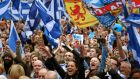 "Scottish independence supporters attending the ""Hope over Fear"" rally in George Square, Glasgow, yesterday. Photograph: Andrew Milligan/PA Wire"