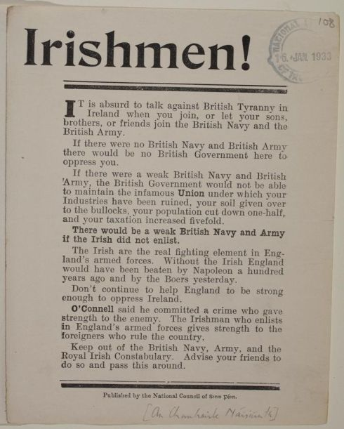 "Leaflets oppose support for the Voluteers and enlistment in the British Army - ""Without the Irish th"