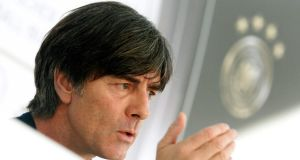 No signs of vulnerability: Germany coach Joachim Löw answers  questions at a press conference  in Essen. Photograph: Roland Weihrauch/EPA