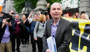 Newly elected TD for Dublin West Paul Murphy is pictured outside Leinster House prior to taking up his seat in the Dáil today. Photograph: Aidan Crawley/The Irish Times