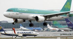 Nice moves in the airlines, with Aer Lingus and Ryanair both climbing.Photograph: Niall Carson/PA Wire