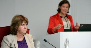 Tanaiste and Minister for Social Protection Joan Burton (left) and Mary Lou McDonald Sinn Fein, at the IBEC and Women for Election post-budget debate in Dublin. Photograph: Eric Luke / The Irish Times