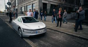 The VW XL1 - the world's most fuel efficient production car - in Dublin this morning. Photos: Paddy McGrath