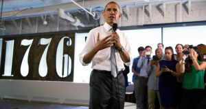President  Obama launched the last July 4th holiday at the office of technology start-up hub 1776. Photograph: Martin H Simon-Pool/Getty Images