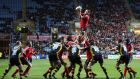 Mick O'Driscoll claims a lineout for Munster against Wasps at the Ricoh Arena in 2007. The Premiership club are hoping to attract bigger crowds to the Coventry venue. Photograph: James Crombie/Inpho