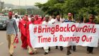 "Campaigners from ""#Bring Back Our Girls"" march during a rally yesterday calling for the release of the Abuja school girls who were abducted by Boko Haram militants, in Abuja. Photograph: Afolabi Sotunde/Reuters"