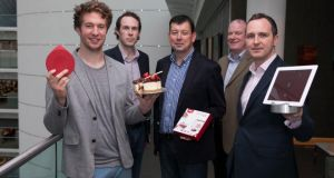 Digital kitchen scale innovator Ben Harris (left), chief executive of Drop, with members of the AIB and Frontline Ventures teams, celebrates AIB's €2 million seeding
