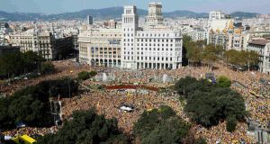 More than 100,000 people attended the demonstration in Barcelona, according to media reports.  Photograph: Reuters/Albert Gea.