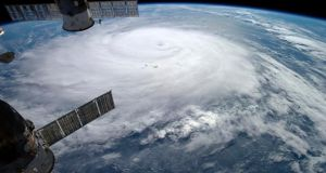 Hurricane Gonzalo is seen over the Atlantic Ocean in this Nasa image taken by astronaut Alexander Gerst from the International Space Station on October 17th. Photograph: Alexander Gerst/Nasa/Reuters