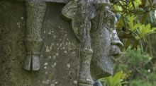 Lichens growing on a stone statue in the historic gardens of Mount Stewart, Co Down. Photograph: Richard Johnston
