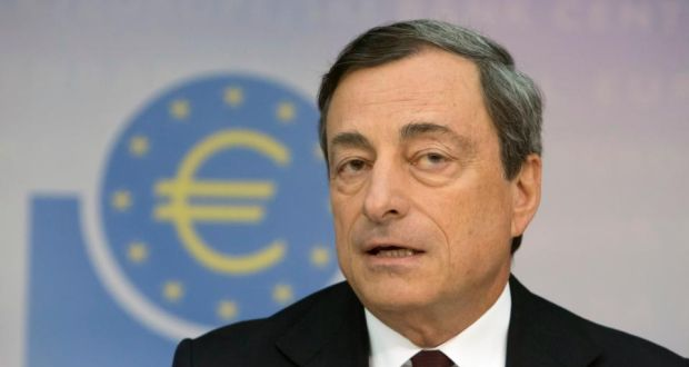 The plan, announced by ECB president Mario Draghi in September, aims to take rebundled debt off the balance sheets of euro-zone banks. Photograph: Martin Leissl/Bloomberg