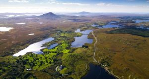 Aerial view of Connemara in the west of Ireland. Photograph: Getty