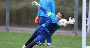 Emiliano Martinez of Arsenal during a training session at London Colney. Photograph: Stuart MacFarlane/Arsenal FC via Getty Images