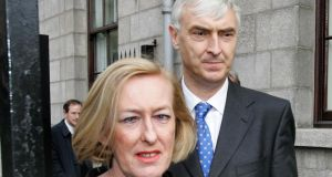 Geraldine Kennedy and Colm Keena leaving the High Court on October 23rd, 2007, after losing the case brought by the Mahon tribunal. Photograph: David Sleator