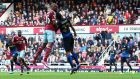 West Ham's  Diafra Sakho  heads his team's second goal during the  Premier League match against Manchester City at the Boleyn Ground. Photograph: Ian Walton/Getty Images