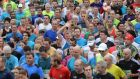 Runners are seen at the start of the  35th  Dublin city marathon. Photograph: Dara Mac Dónaill/The Irish Times
