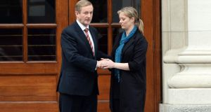 Maíria Cahill  and Taoiseach Enda Kenny  outside Government Buildings after their meeting last week. Photograph: Eric Luke/The Irish Times