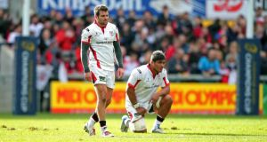 Ulster's Nick Williams and Jared Payne dejected after the loss to Toulon at the weekend. Photograph: Darren Kidd/Inpho
