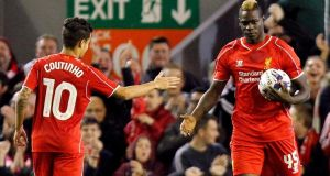 Liverpool's Mario Balotelli after scoring his side's equaliser to make it 1-1 during the Capital One Cup Fourth Round match at Anfield, Liverpool. Photograph: PA