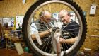 Dominic Kessie and Ray Harte at the Men's Shed project in Portlaoise. Photograph: Jeff Harvey/HR Photo