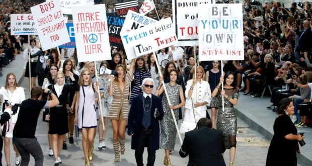 b07474fa35 Karl Lagerfeld and models take to the catwalk after presenting the spring-summer  2015 ready