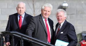 US envoy to the inter-party talks, Gary Hart (right), is met at Parliament buildings Stormont by SDLP Leader Alasdair McDonnell and party colleague Joe Byrne. Photograph: Paul Faith/PA Wire