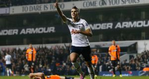 Tottenham Hotspur's Erik Lamela celebrates after scoring against Brighton Hove Albion during their English League Cup game at White Hart Lane. Photograph: Suzanne Plunkett/Reuters