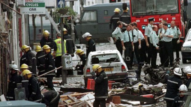 Police intelligence officers withheld some information from detectives investigating the Omagh boming in Northern Ireland in which 29 people were killed, a new report has found. Photograph of the aftermath of the Co Tyrone bomb. Photograph: PA