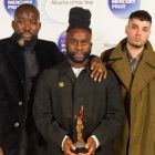 Winners of the Mercury Music Prize 2014 Young Fathers, (l to r) 'G' Hastings, Alloysious Massaquoi, and Kayus Bankole at the ceremony. Photograph: Dominic Lipinski/PA Wire