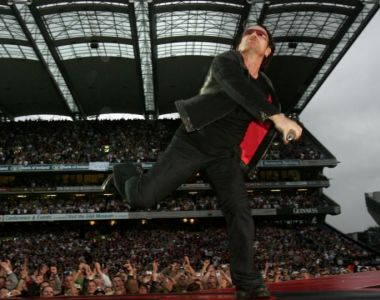 Bono on stage in Croke Park at the opening of the band's Vertigo tour concert series in 2005. Photograph: Matt Kavanagh/The Irish Times